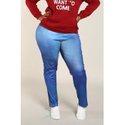 Lovely Casual Skinny Blue Plus Size Leggings