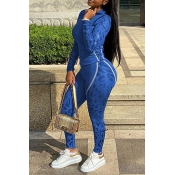 Lovely Sportswear Patchwork Blue Two-piece Pants S