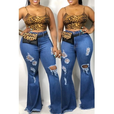 Lovely Casual Broken Holes Flared Baby Blue Jeans
