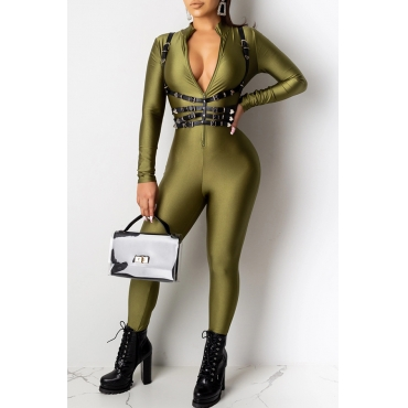 Lovely Sexy Skinny Blackish Green One-piece Jumpsuit