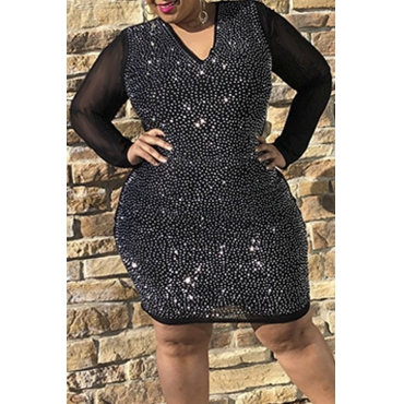 Lovely Party Patchwork Black Mini Plus Size Dress