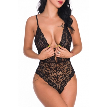 Lovely Sexy Hollow-out Lace Black Teddies