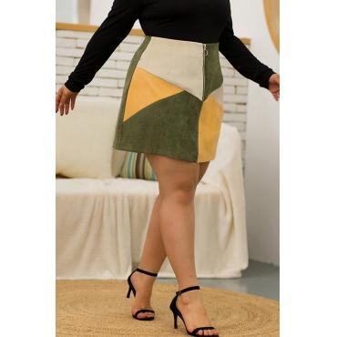 Lovely Sweet Patchwork Multicolor Mini Skirt
