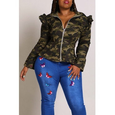 Lovely Casual Mandarin Collar Camouflage Printed Plus Size Coat