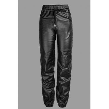 Lovely Leisure Lace-up Black Plus Size Pants