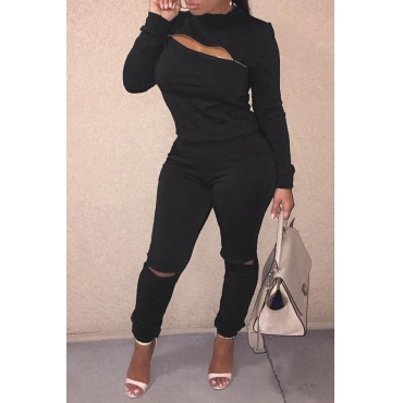 Lovely Trendy Zipper Design Black Two-piece Pants Set