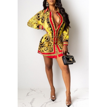 Lovely Casual Printed Gold Mini Shirt Dress(Without Belt)