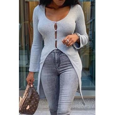 Lovely Trendy Asymmetrical Grey Sweater