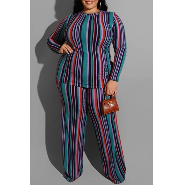 Lovely Casual Striped Green Plus Size Two-piece Pants Set