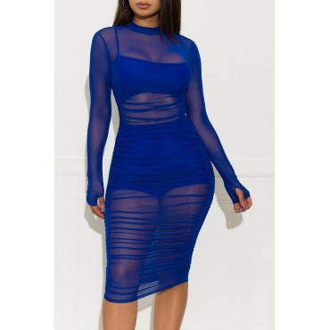 Lovely Casual O Neck Ruffle Design Blue Knee Length Dress(With Lining)