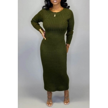 Lovely Casual O Neck Hollow-out Army Green Ankle Length Dress