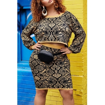 Lovely Casual Printed Khaki Plus Size Two-piece Skirt Set