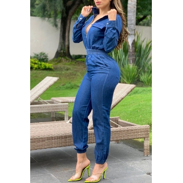 Lovely Casual Ruffle Design Deep Blue One-piece Jumpsuit