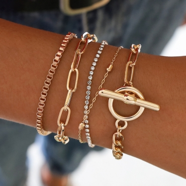 Lovely Trendy Layered Gold Alloy Bracelet
