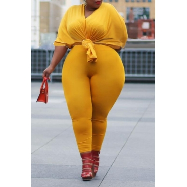 Lovely Chic Basic Yellow Plus Size Two-piece Pants Set