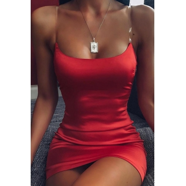 Lovely Chic Sleeveless Red Mini Sheath Dress