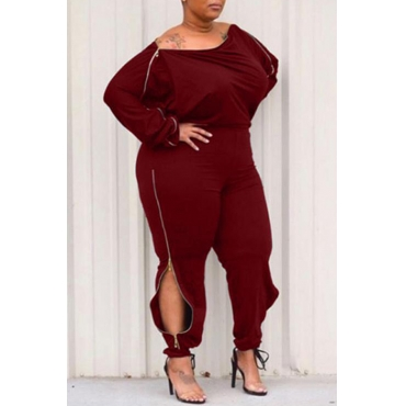 Lovely Casual Zipper Design Wine Red Plus Size One-piece Jumpsuit