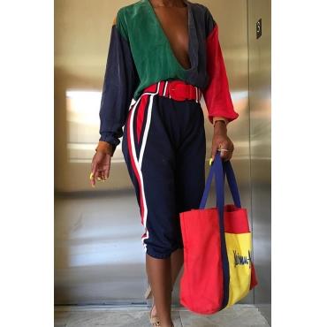 Lovely Trendy Deep V Neck Patchwork Multicolor One-piece Jumpsuit