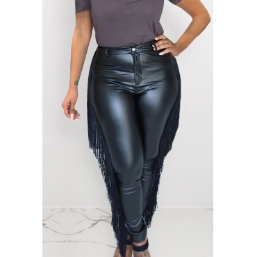 Lovely Casual Tassel Design Pitch-black PU Pants