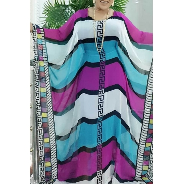Lovely Casual Striped Loose Multicolor Ankle Length Plus Size Dress
