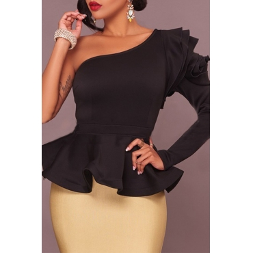 Lovely Trendy Flounce Design Black Blouse