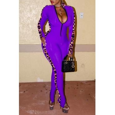 Lovely Trendy Patchwork Purple One-piece Jumpsuit