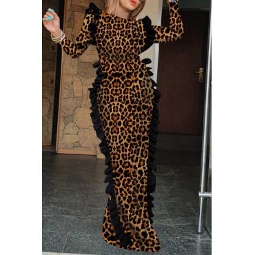 Lovely Trendy Leopard Printed Floor Length Sheath Dress