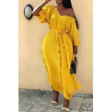 Lovely Casual V Neck Ruffle Design Yellow Ankle Length Plus Size Dress
