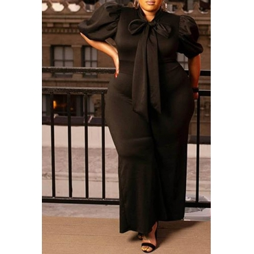 Lovely Casual Lace-up Black Plus Size One-piece Jumpsuit