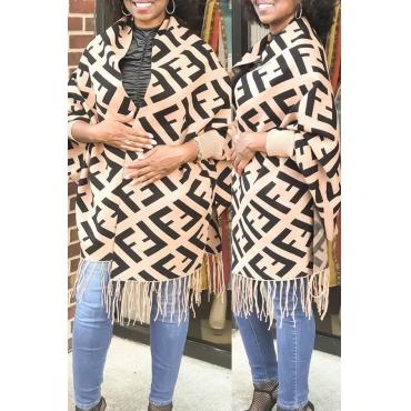 Lovely Casual Tassel Design Brown Coat