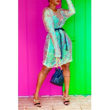 Lovely Trendy O Neck Sequined Multicolor Knee Length Dress(Without Belt)