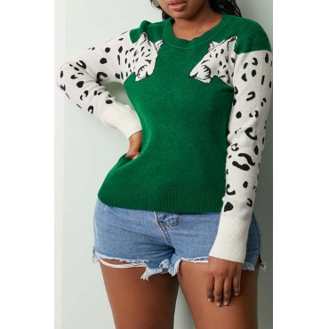 Lovely Casual Patchwork Green Sweater