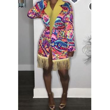 Lovely Casual Tassel Design Multicolor Coat