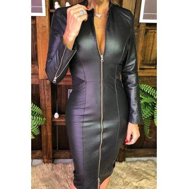 Lovely Casual Mandarin Collar Zipper Design Black Knee Length Dress