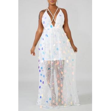 Lovely Casual Deep V Neck Bandage Design White Floor Length Dress