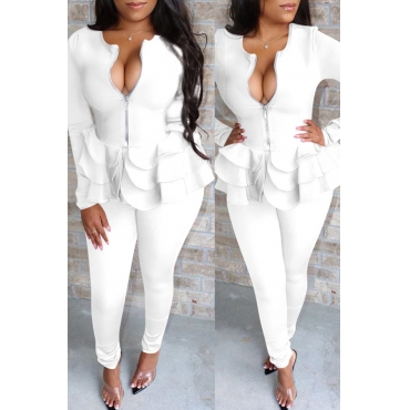 Lovely Casual Flounce Design White Two-piece Pants Set