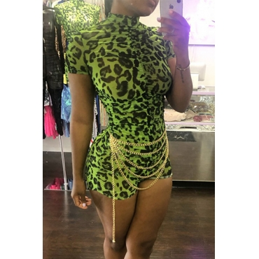 Lovely Sexy Leopard Printed Green One-piece Romper