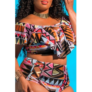 Lovely Hollow-out Multicolor Plus Size Two-piece Swimwear