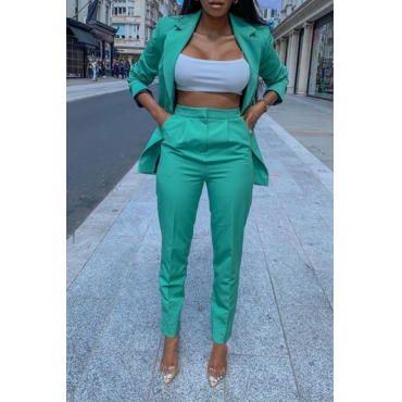 Lovely Trendy Turndown Collar Green Two-piece Pants Set