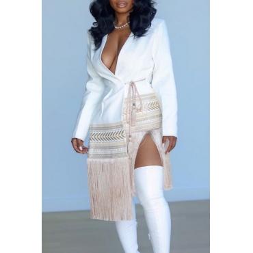 Lovely Casual Patchwork Tassel Design White Mid Calf  Dress