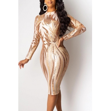 Lovely Party Patchwork Sequined Apricot Knee Length Evening Dress