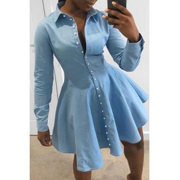 Lovely Trendy Buttons Design Baby Blue Mini Dress