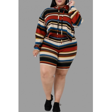 Lovely Casual Hooded Collar Striped Printed Multicolor Plus Size Two-piece Shorts Set