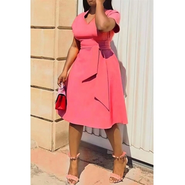 Lovely Casual V Neck Asymmetrical Pink Knee Length Plus Size Dress