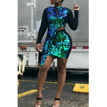 Lovely Sexy Sequined Green Two-piece Skirt Set