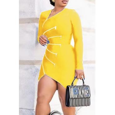 Lovely Casual V Neck Zipper Design Yellow Mini Dress