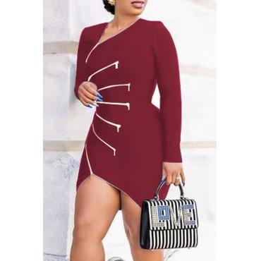 Lovely Casual V Neck Zipper Design Wine Red Mini Dress