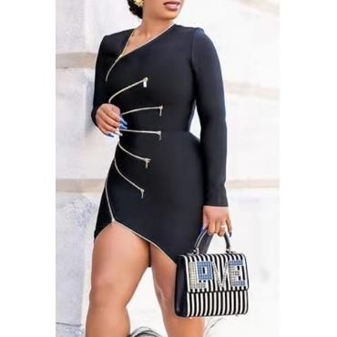 Lovely Casual V Neck Zipper Design Black Mini Dress