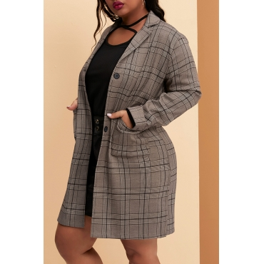 Lovely Casual Plaid Printed Coffee Plus Size Blazer