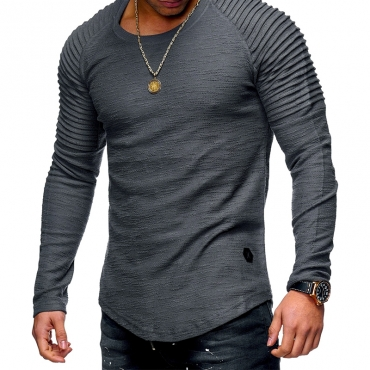 Lovely Casual O Neck Ruffle Design Grey T-shirt